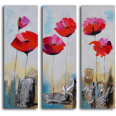 My Art Outlet 3 Piece ''Poppy Rocks'' Hand Painted Canvas Set