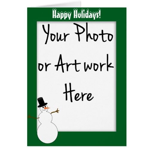Snowman Green PhotoFrame Template (Add Your Photo) Greeting Card