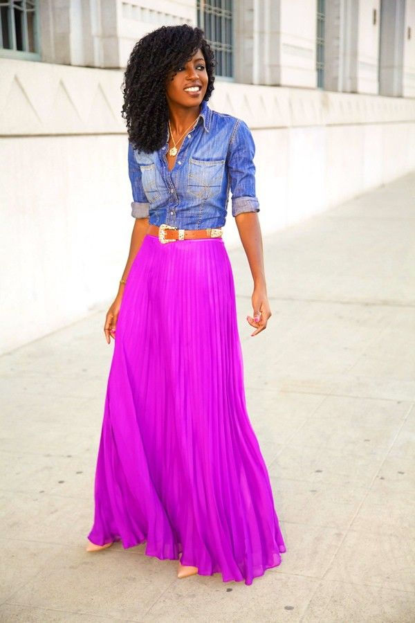 fitted, denim, shirt, pleated, maxi, skirt