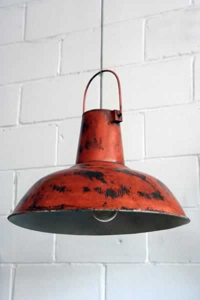 Large Vintage Ceiling Lamp Shades Red Orange Distressed Metal