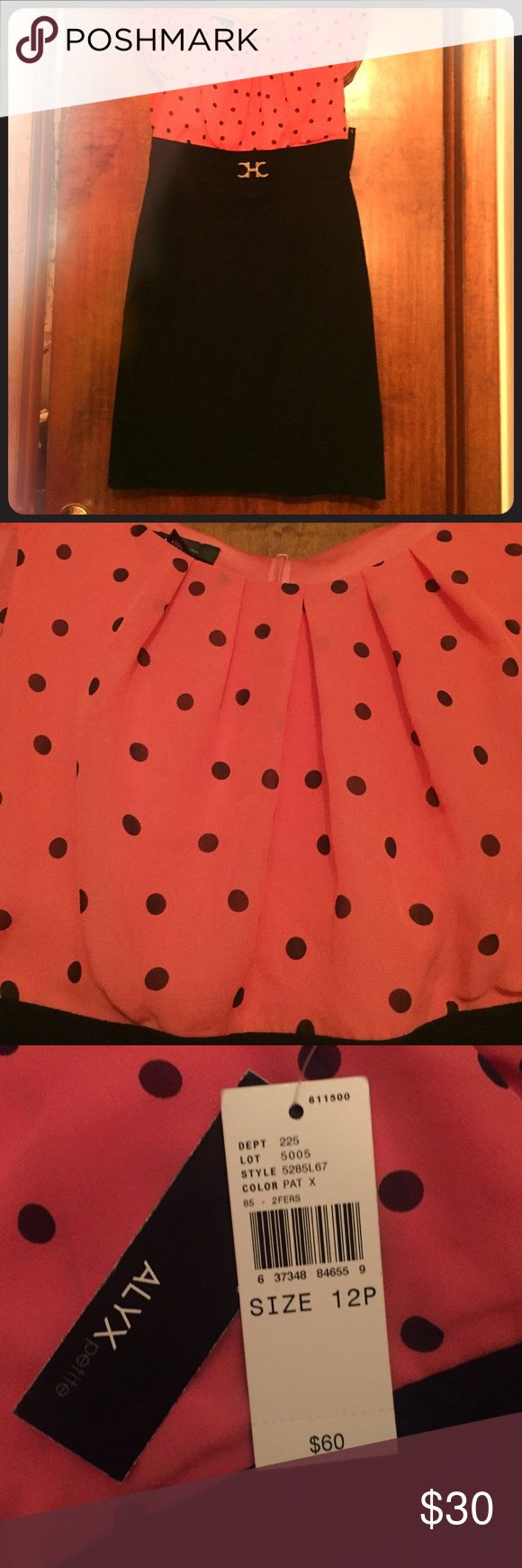 Coral polka dot dress Fabulous coral polka dot dress. Brand New, never worn. Alyx Petite dress size 12P. Excellent condition. Smoke free. Pet free home. Don't like the price? Make an offer 🙂 Dresses