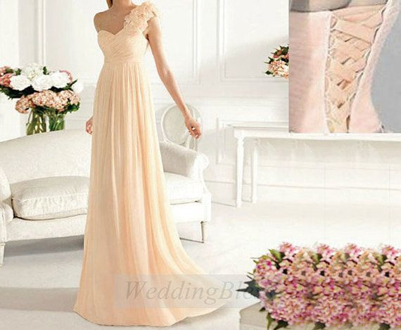 Perfect!!Light Peach Bridesmaid Dresses Lace Up Back