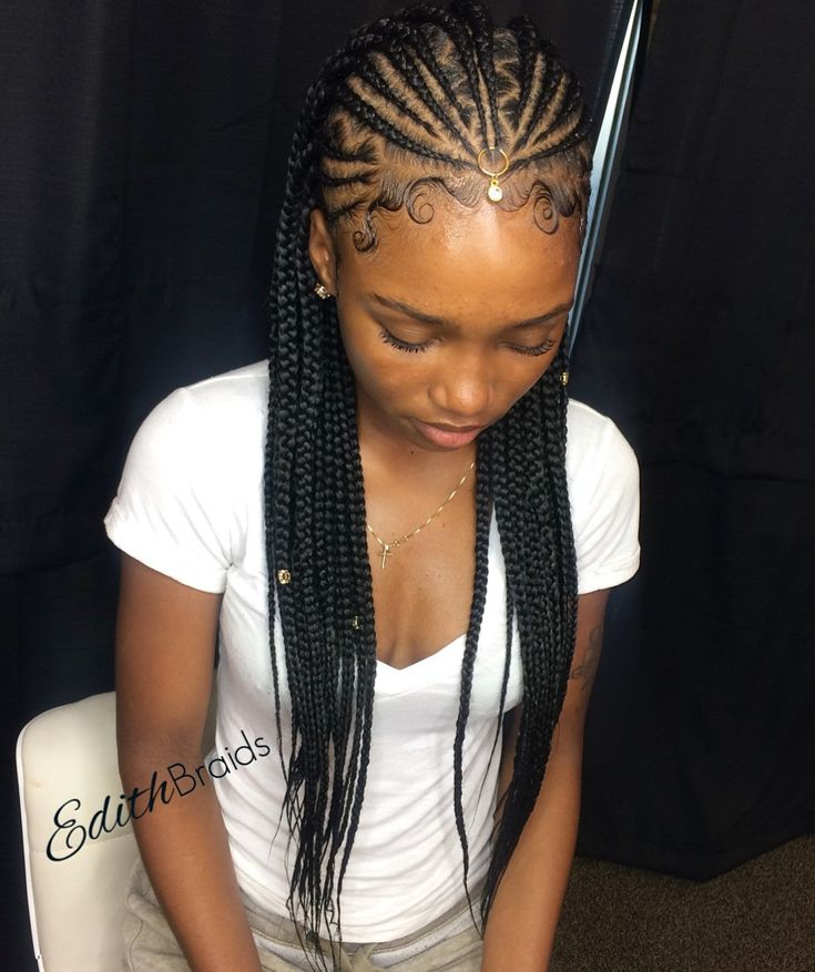 One Point Fulani Braids With Zigzag Parts Braided