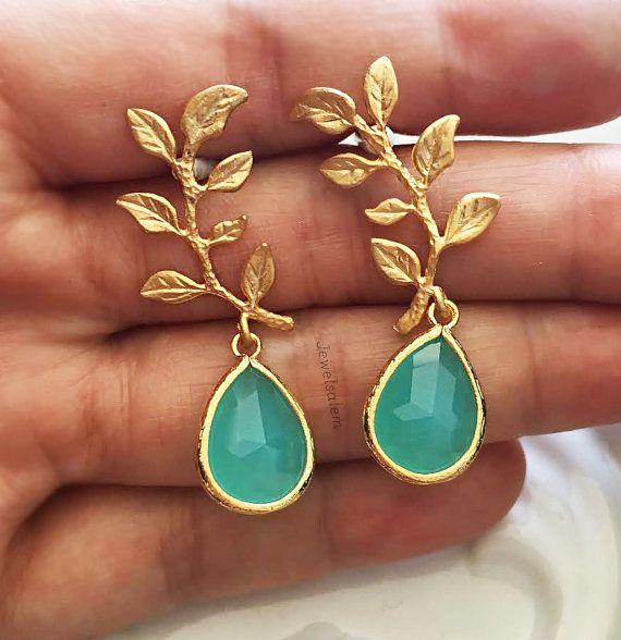 Gold Leaf Earrings, Turquoise Bridal Earrings, Aquamarine Birthstone, Romantic Wedding Jewellery, Seafoam Bridesmaids Gift, Earrings Set