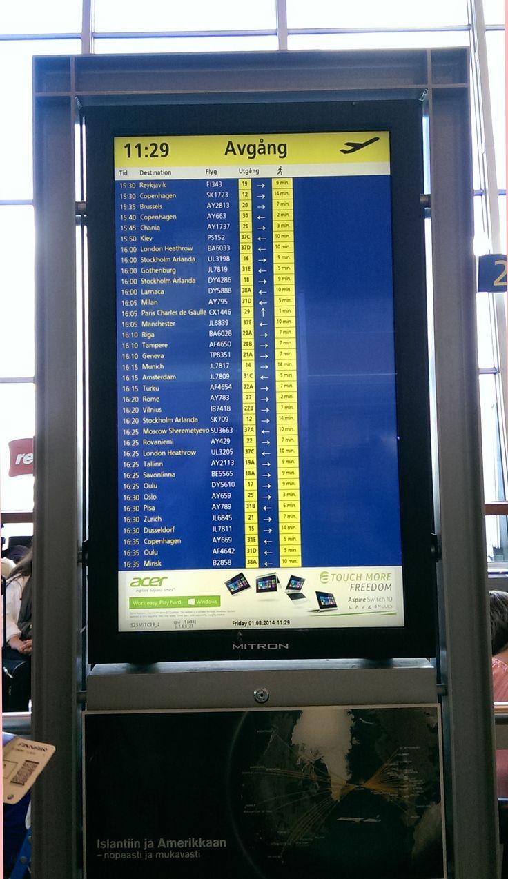 Helsinki Airport - Departure display