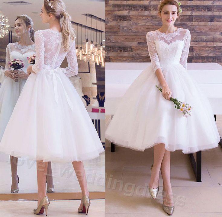 Tea Length Lace Beach Wedding Dress 3 4 Sleeves Summer Wedding