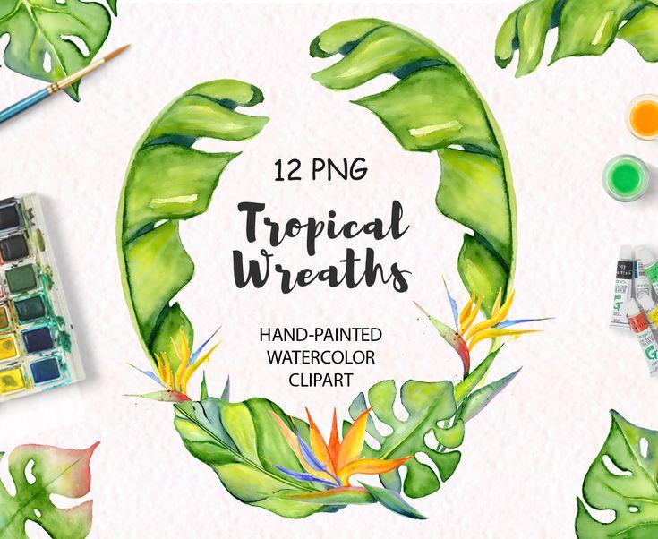 Tropical wreaths clipart Tropical leaves Floral clipart Watercolor leaves Summer clipart Watercolor clipart Tropical leaf Jungle clipart #tropical #watercolor #leaves #clipart #wreaths