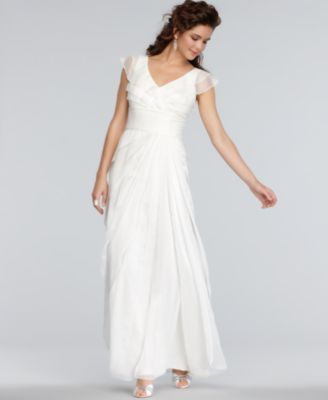 Adrianna Papell Dress, Cap-Sleeve Pleated Empire Waist Tiered Gown. I'm 5'2 so my feet cannot be seen like this photo.