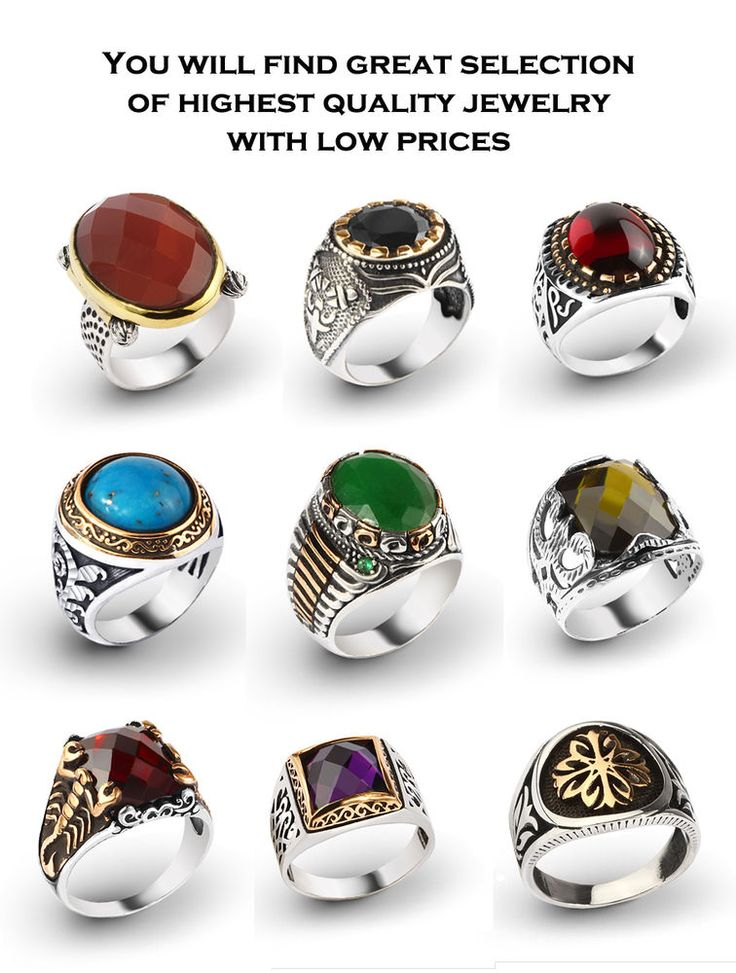 925 K Sterling Silver Turkish Men Rings with Gemstones From Manufacturer TURKEY