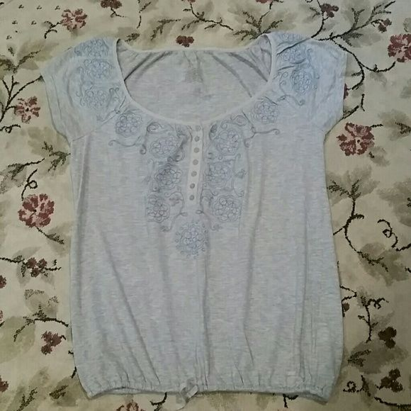 Aeropostale top Grey with blue design.  Drawstring on bottom Aeropostale Tops