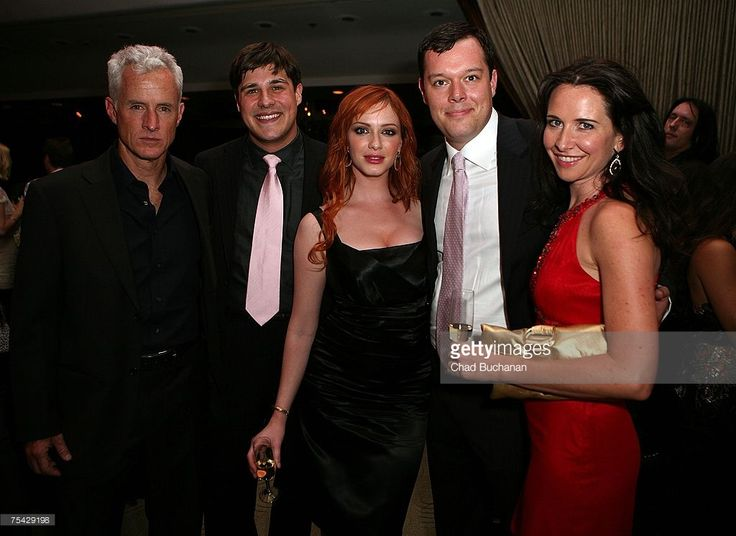 Actors John Slattery, Rich Sommer, Christina Hendricks, Michael Gladis and guest attend AMC's premiere party for 'Mad Men' at The Friars Club on July 15, 2007 in Beverly Hills, California.