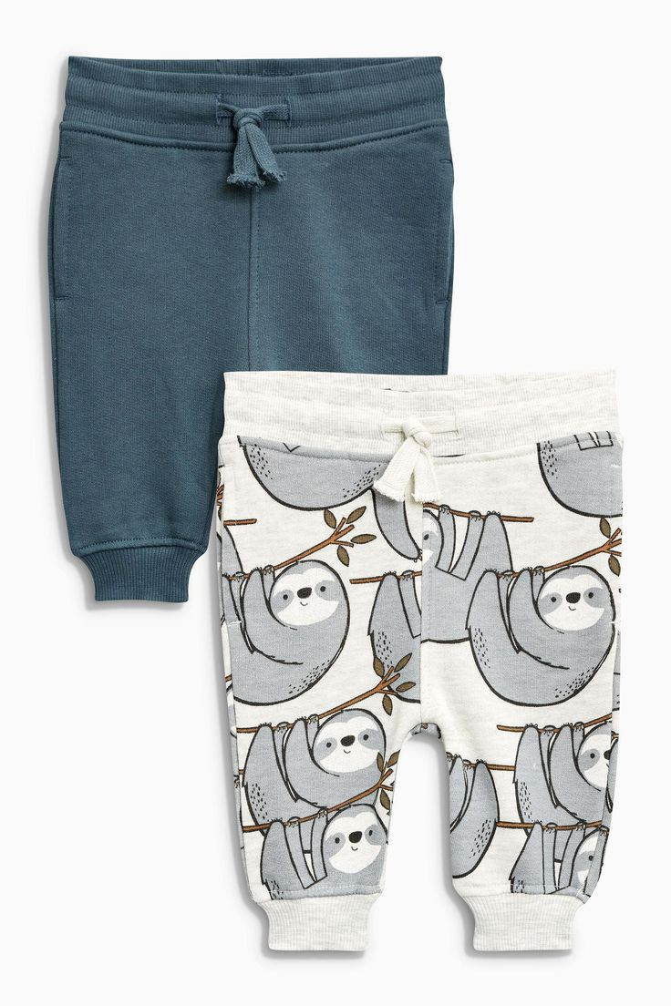 Buy Grey Sloth All-Over-Print Joggers Two Pack (3mths-6yrs) from the Next UK online shop