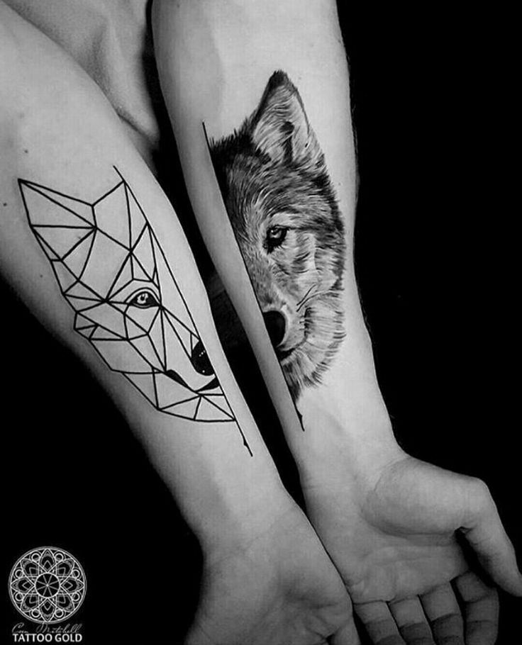 #tattoo #tatuagem #ink #inked #bodymodification #alineymarques #blackandwhite #wolf #geometric