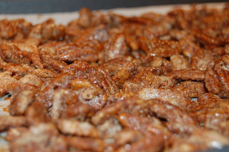 I stole this recipe for cinnamon vanilla glazed pecans from a McCormick Spice flyer that was at the grocery store. I omit the red pepper and use pecans instead of walnuts. These are so addictive, they're great for a gift! I like how the beaten egg white cooks in the oven for a nice crunch. …