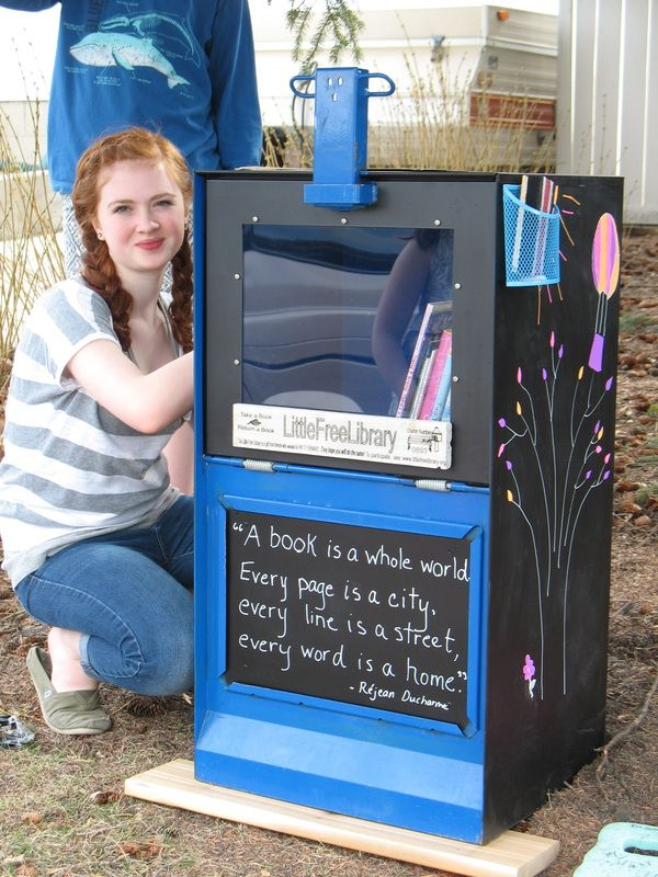 Little Free Library. It's a project to build mini libraries all over with donated books. This is amazing!