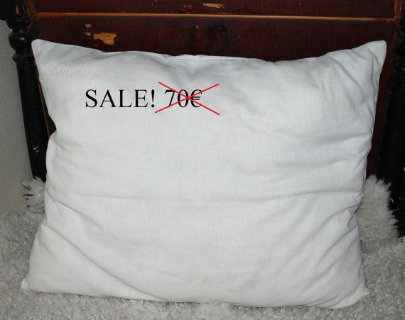 SALE!!  Linen (flax) pillow with 100% wool filling, pillow, bedroom,  linen pillow SALE!