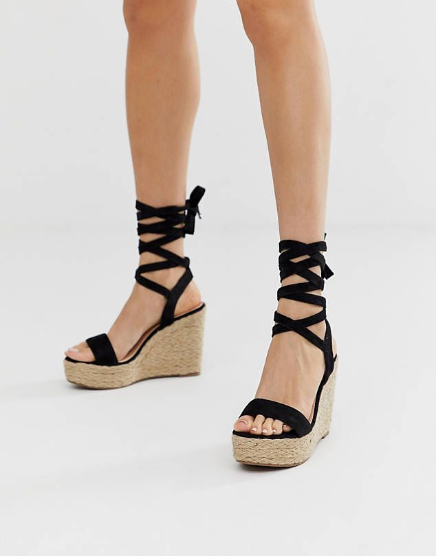 88e8db97f51 Glamorous black ankle tie espadrille wedges | Fashion, Clothes ...