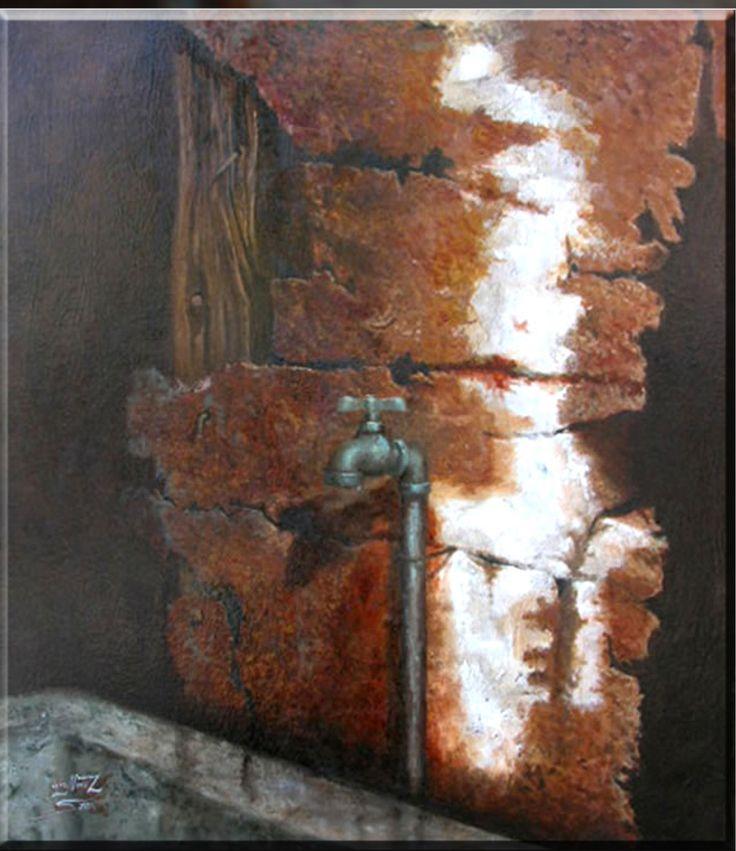Luis Núñez, artista plástico #Antofagasta #Chile. Óleo sobre tela con ensamblaje.