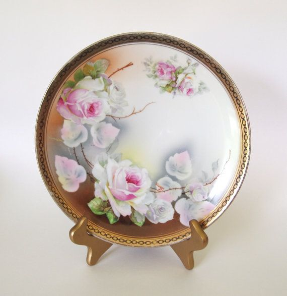 Antique Victorian O&EG Royal Austria Hand Painted Plate  with Pink Roses - Late 1800's to early 1900's - Austria