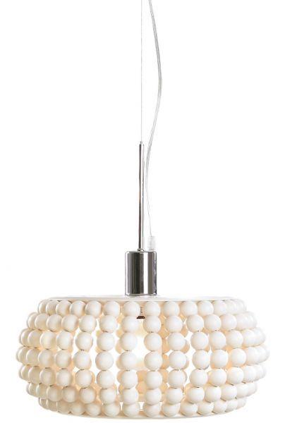 White lamp out of wooden beads. Original by Finnish designer Sami Lamberg.