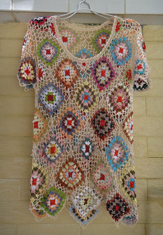Granny Square Crochet Womens Blouse Top Short by TinaCrochet2016