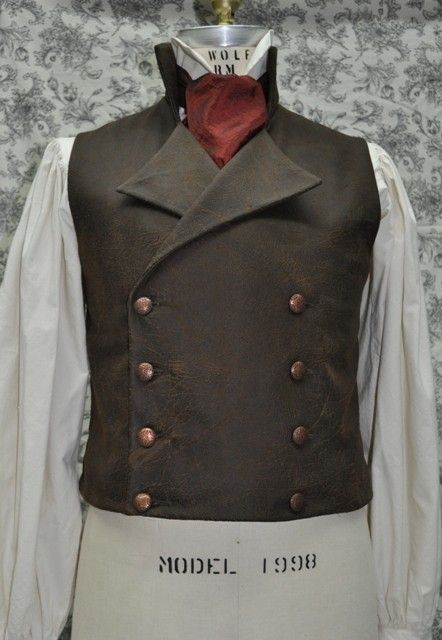 Men's Victorian/Steampunk Double Breasted Vest With an Air of Sweeney Todd-----Custom and Made To Order-----Men's Chest size 30-48 inches. $90.00, via Etsy.