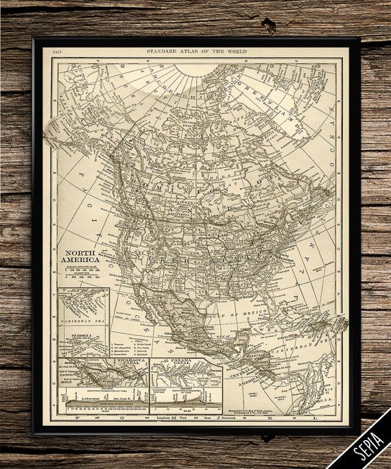 24 Best Vintage Maps Images On Pinterest Usa Print Map And: North America Map Wall Art At Usa Maps