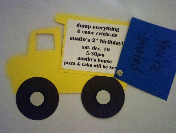 Dump Truck Handmade Invitation by ProjectsbyAffton on Etsy, $35.00