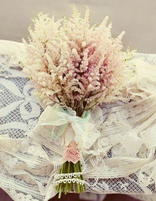 Astilbe bunches with lace