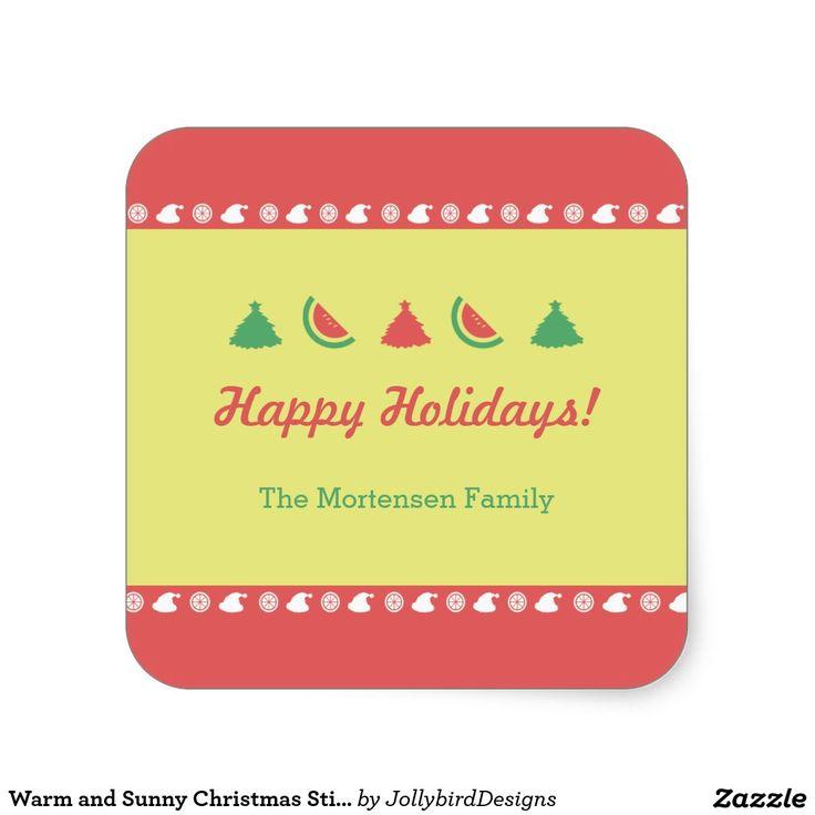 Warm and Sunny Christmas Sticker #warm #sunny #Christmas #xmas #xmascollection #tropicalfruits #tree #santaclaus #watermelon #orange #sticker