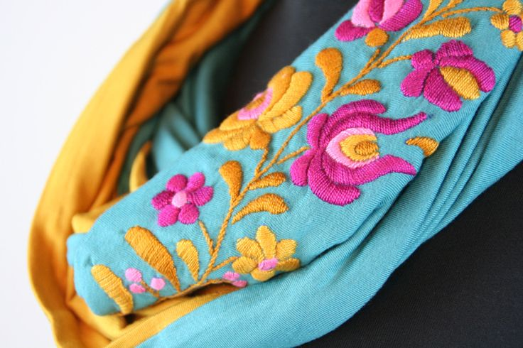 Woman infinity scarf - circle scarf - loop scarf -  hand embroidered - matyo embroidery - mustard yellow and turquoise - made to order by MatyoKid on Etsy