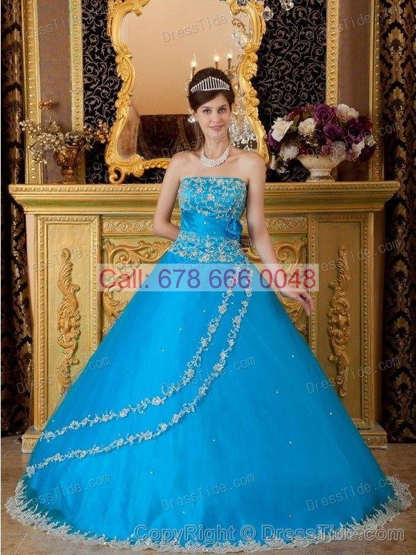 Amazing Appliqued Hemline and Blue Strapless Quinceanera Gowns Dress - Quinceanera Dresses 2015 - Quinceanera Dresses