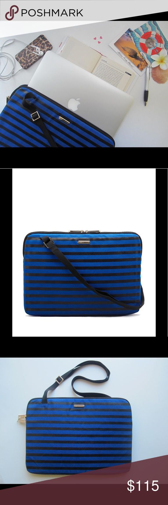 """Laptop Sleeve 15"""" Black and Blue Stripes 🆕 Opt for sleek, sophisticated, stylish, and modern minimalism canvas laptop sleeve. Perfect to carry your laptop to work, travel, or school.     ▫️Double zippered closure  ▫️Padded interior for laptop protection  ▫️Striped canvas  ▫️Adjustable carrying strap  ▫️Measures 15"""" L x 1"""" D x 10.75"""" H  ▫️Fits most 15"""" laptops. Model: MacBook Air 13.3"""", laptop not for sale  📌Minor scuff marks/dirt on the back of the bag from being handled as the """"store…"""