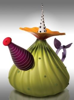 "Kliszewski Glass ""Garden Variety Teapot in Olive"" 