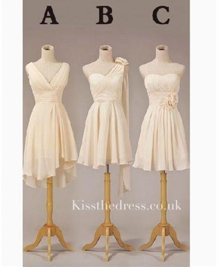 Apricot Chiffon Different Style Short Bridesmaid Dress
