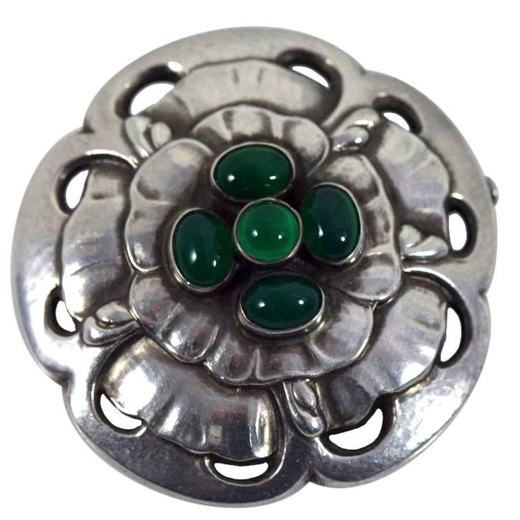 Georg Jensen sterling silver floral brooch with green agate, design #59, early 20th century