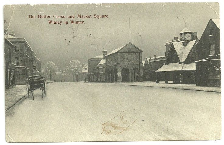 Oxon postcard Witney Butter Cross & Market Square Snow scene | eBay
