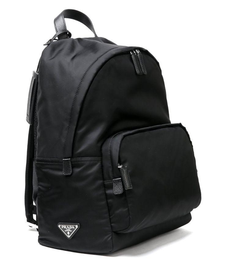 Wiberlux Prada Men's Triangle Logo Detail Zip-Around Backpack One Size Black