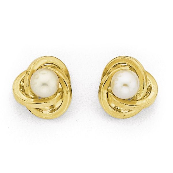 9ct Gold Cultured Fresh Water Pearl 'Love Knot' Stud Earrings