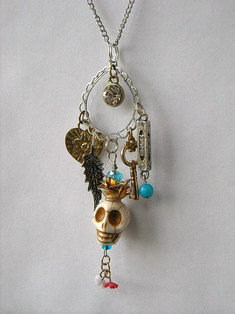☠ Day of the Dead White Skull Charm Long Necklace by InkandRoses ☠