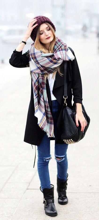 #winter #fashion / tartan scarf + denim