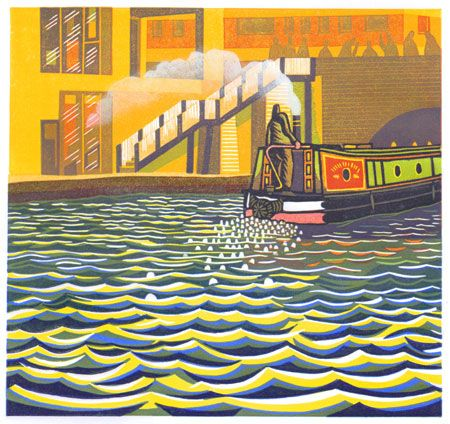 On the Regents Canal in London an original print by Eric Gaskell. © Eric Gaskell 2017