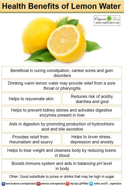 Health benefits of lemon water include relief from scurvy, sore throat, constipation, kidney stones, canker sores and gum disorders. It helps in lowering blood pressure, stress, maintaining healthy skin and healthy liver. It also aids in digestion, reduces calorie intake, weight loss and has anti-cancer properties.