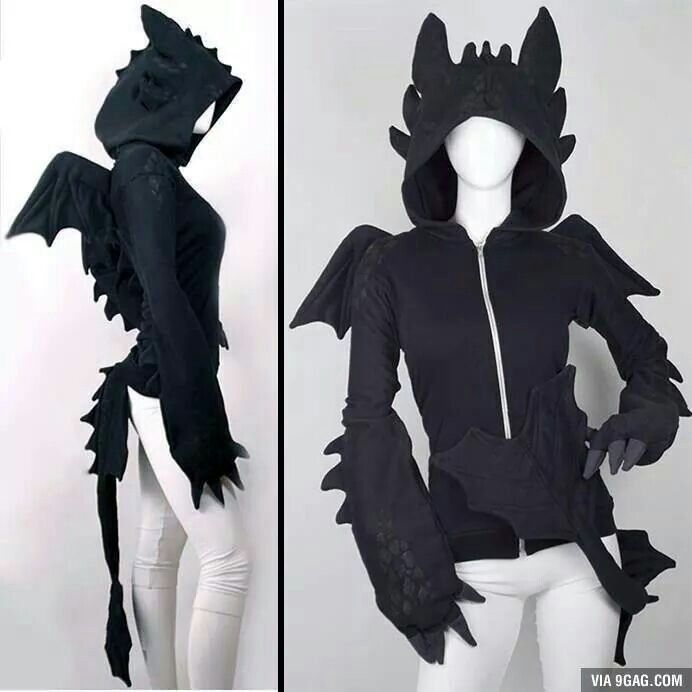 Front and side view of Toothless hoodie. Reference for cosplay.