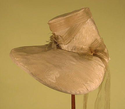 Cream Silk Bonnet, America, c. 1829