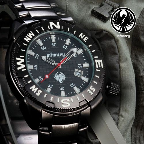 INFANTRY Lume Military Sports Black Mens Watch Stainless Steel Date Display Gift