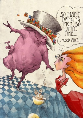 Alice & the Pig  Drawn in pencil & further worked in Photoshop  This is a limited edition of 5 digital prints  Each print will be numbered out of /5 and signed by the artist