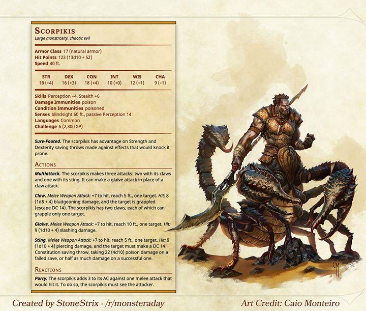 Homebrew] Monster a Day: Scorpikis #DnD http://ift.tt/1MCwzz7 ...