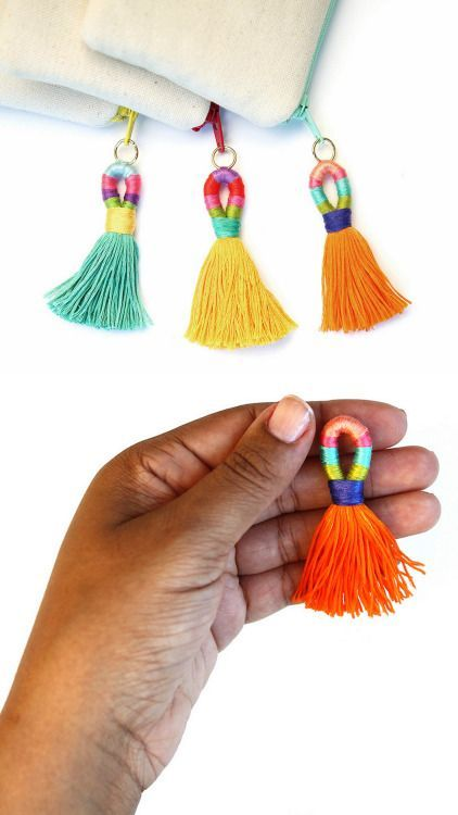"DIY Thread Wrapped Colorful Tassels Tutorial from commonthread. I like this tassel tutorial because of the ""new to me"" thread wrapped top. You can use these decorative tassels in jewelry, as a keychai"