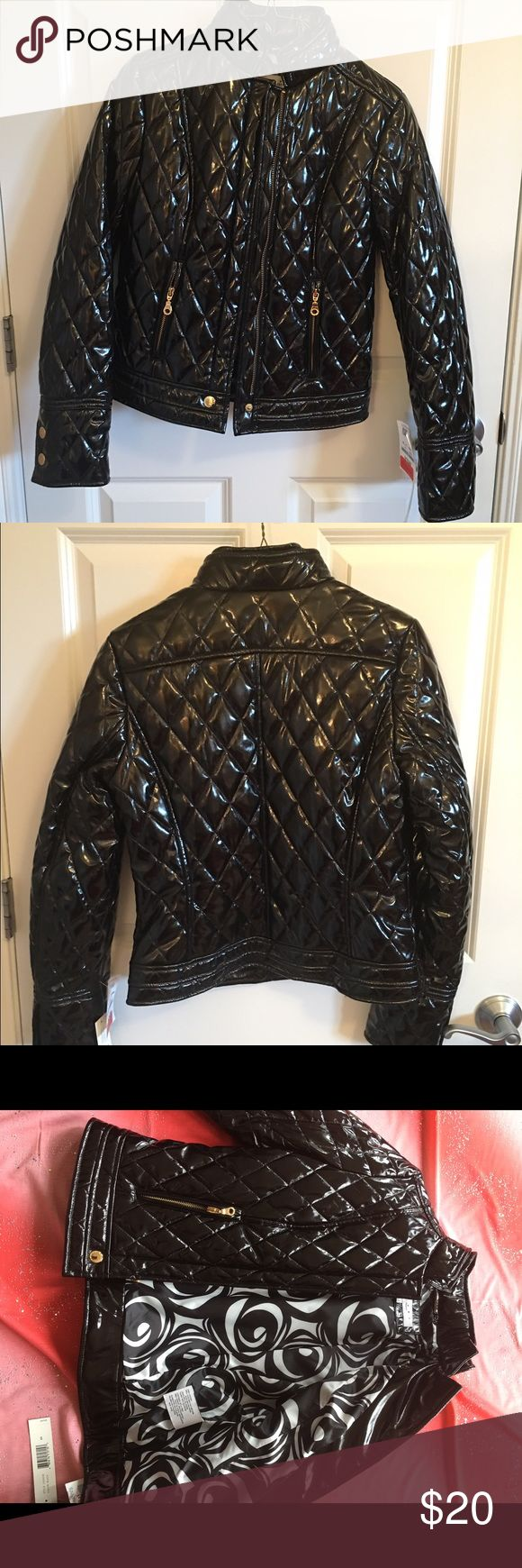 """LAUNDRY Shelli Segal PATENT Faux Leather JACKET Shelli Segal. Black Patent Faux Leather. Center Back Length: 22"""". Black & White Geometric Lining. Black & White Lining. Shell Face: Polyurethane. Double Stand-Up Collar. Laundry by Shelli Segal Jackets & Coats Puffers"""